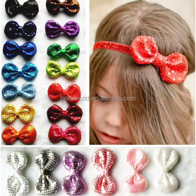 2017 New design factory price paillette Bowknot Elastic headband for kids