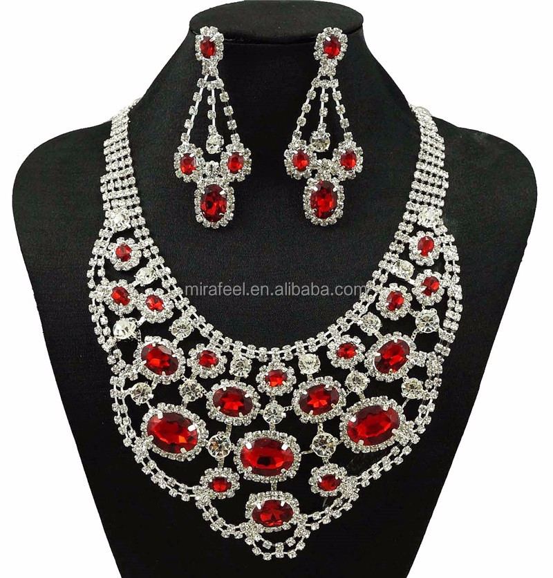 Wholesale & Retail Dubai African Chunky Gold Plated Crystal Necklace Jewelry Set