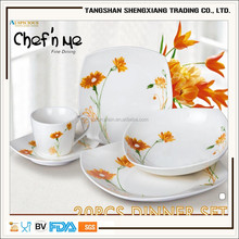 2017 new design of 20pcs square shape decal porcelain dinner set