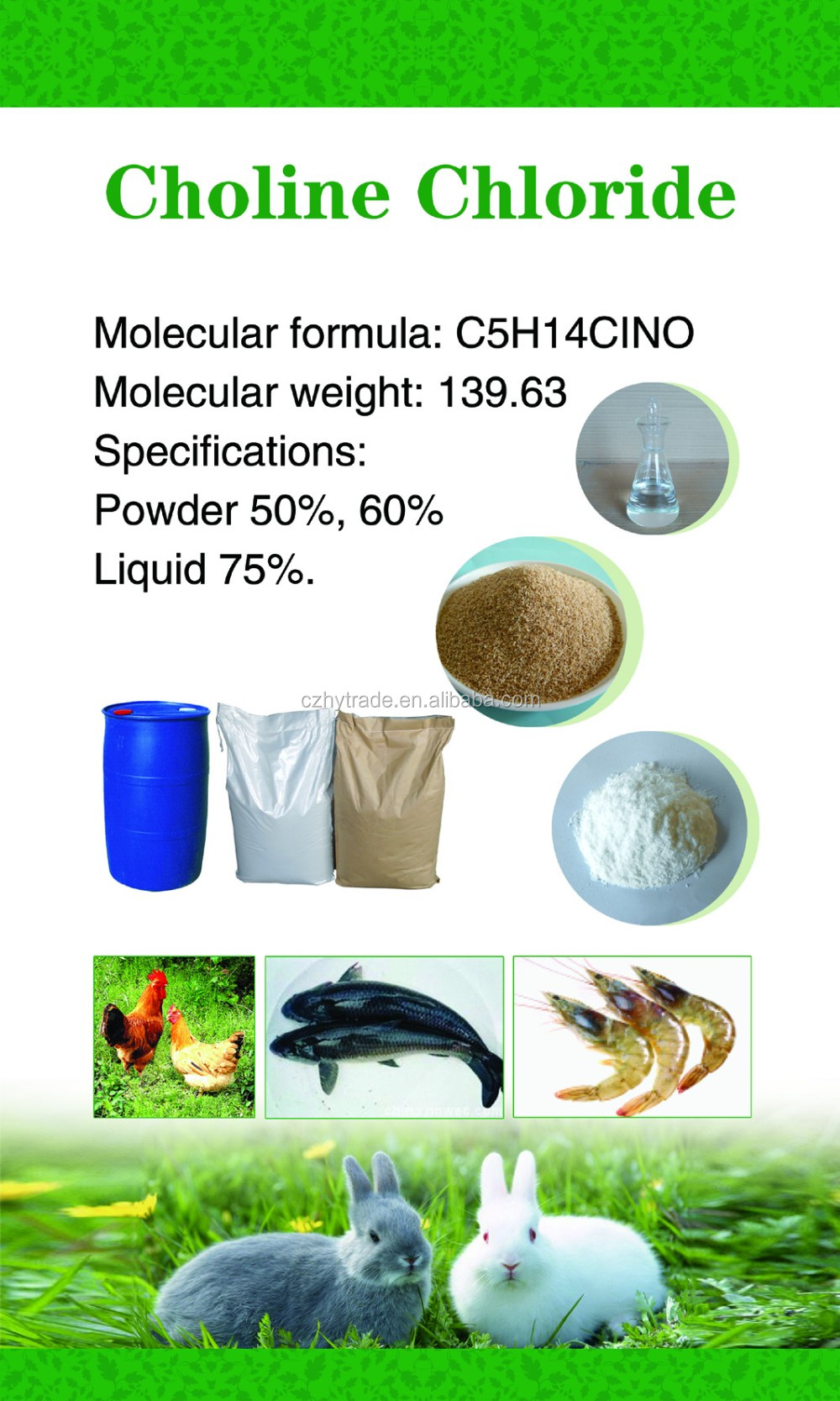 Choline chloride 70% 75% solution / Poultry vitamin supplement for dairy cows