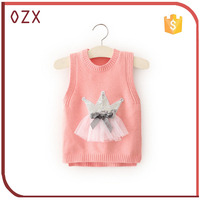 baby girls fashion knit sweater with Sequins crown wool sweater design for girl