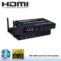 4x2 HDMI Matrix with optical fiber, coaxial, and 3.5 mm audio out