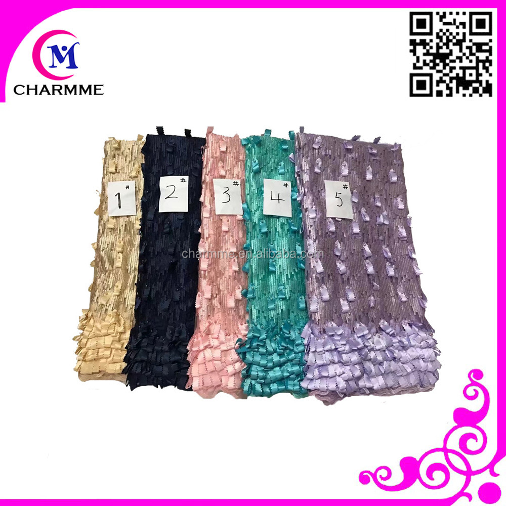 embroidery cotton lace curtain fabric with beaded lace fabric CCL 9N836 for 3d lace fabric