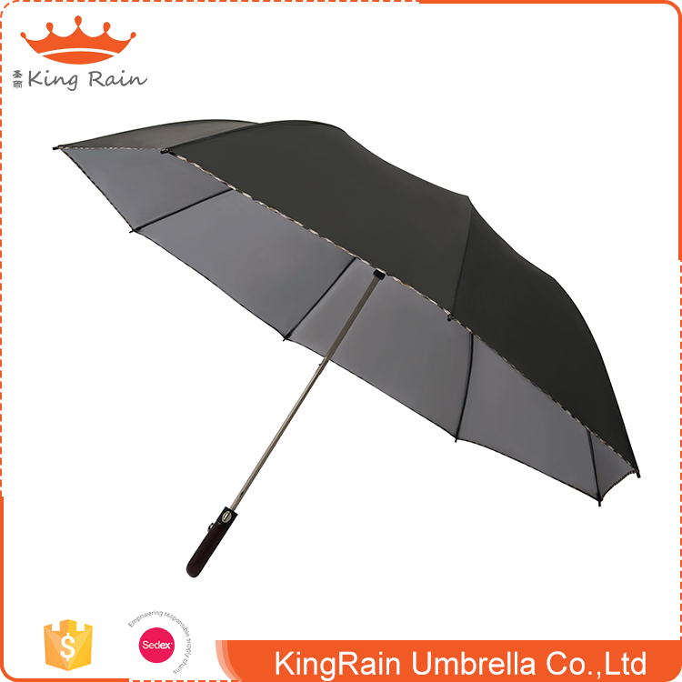 Promotion full color printing wooden handle auto open cheap 2 fold umbrella