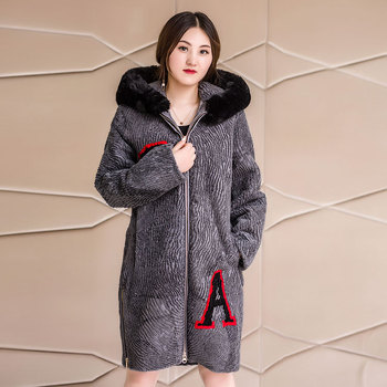 High quality fur woman winter real woolen hooded parka with fur collar