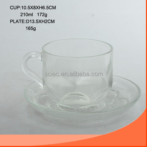 210ML GLASS CUP WITH SAUCER AND FOSTER EFFECT
