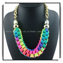 Multicolor Gold Chain Fashion Handcraft Necklace Cotton Rope Necklace