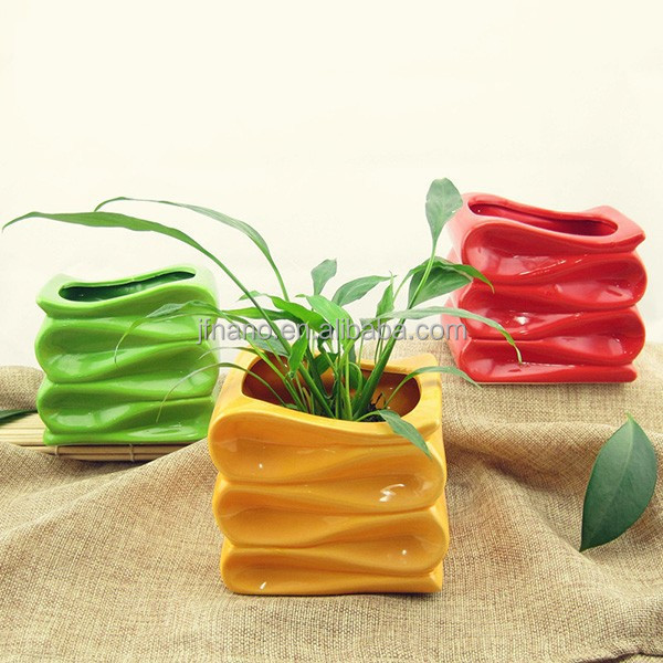 Attractive indoor decorative colorful ceramic striped flower pot