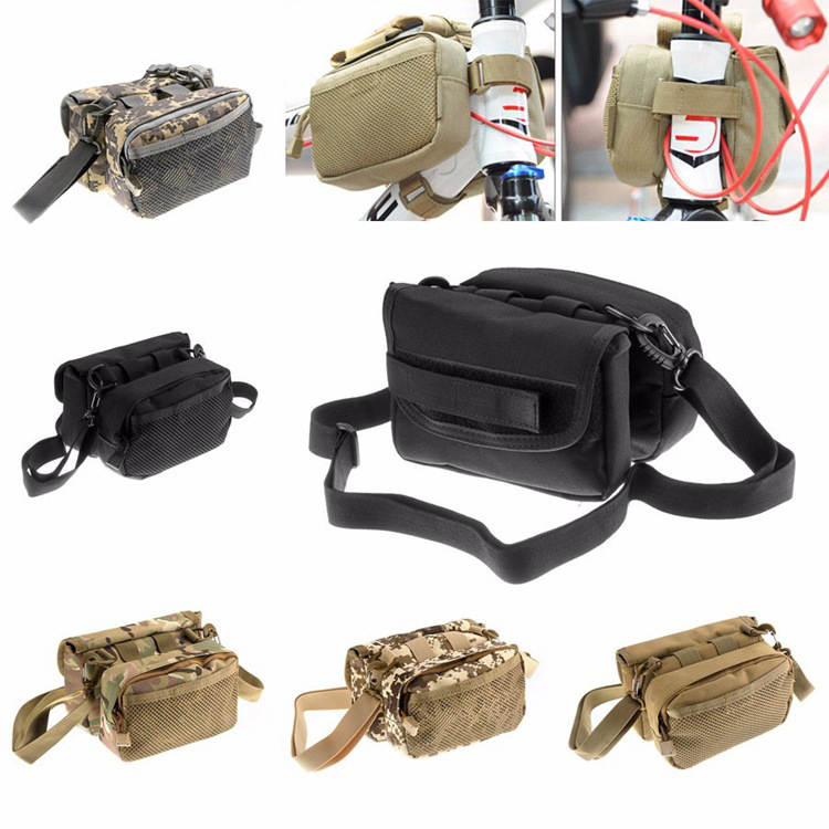 Military Waterproof Bicycle Bag Pannier Molle Bike Front Riding Bag