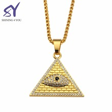 2018 Long Square Pearl Chain with Angel Eyes Diamond Pendant Necklaces Hip Hop Style Custom Necklace Pendant