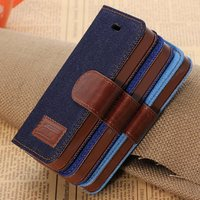 New Arrival Flip Cowboy PU Leather Stand Case with Credit Card Slots & Holder Case For Apple iP