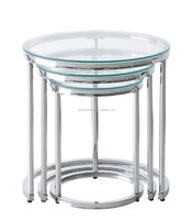 2016 newest design round nesting glass coffee table,three tables together