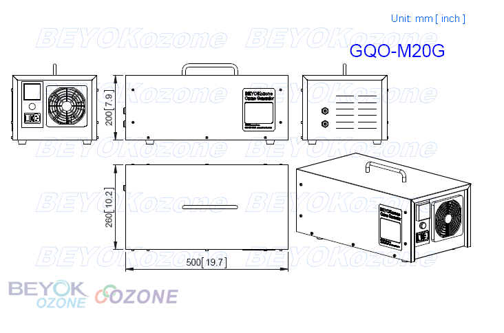 GQO-M20G Multi-function Ozone Generator for Air Purification and Water Treatment