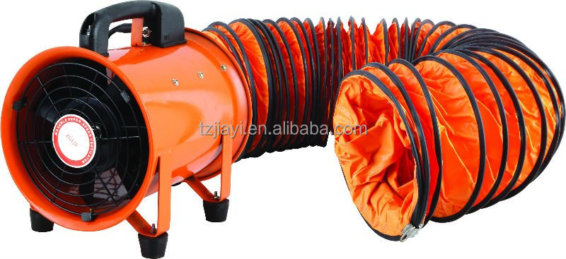 Ventilators Industrial Fire : Exhausted flexible duct with portable air ventilation fan