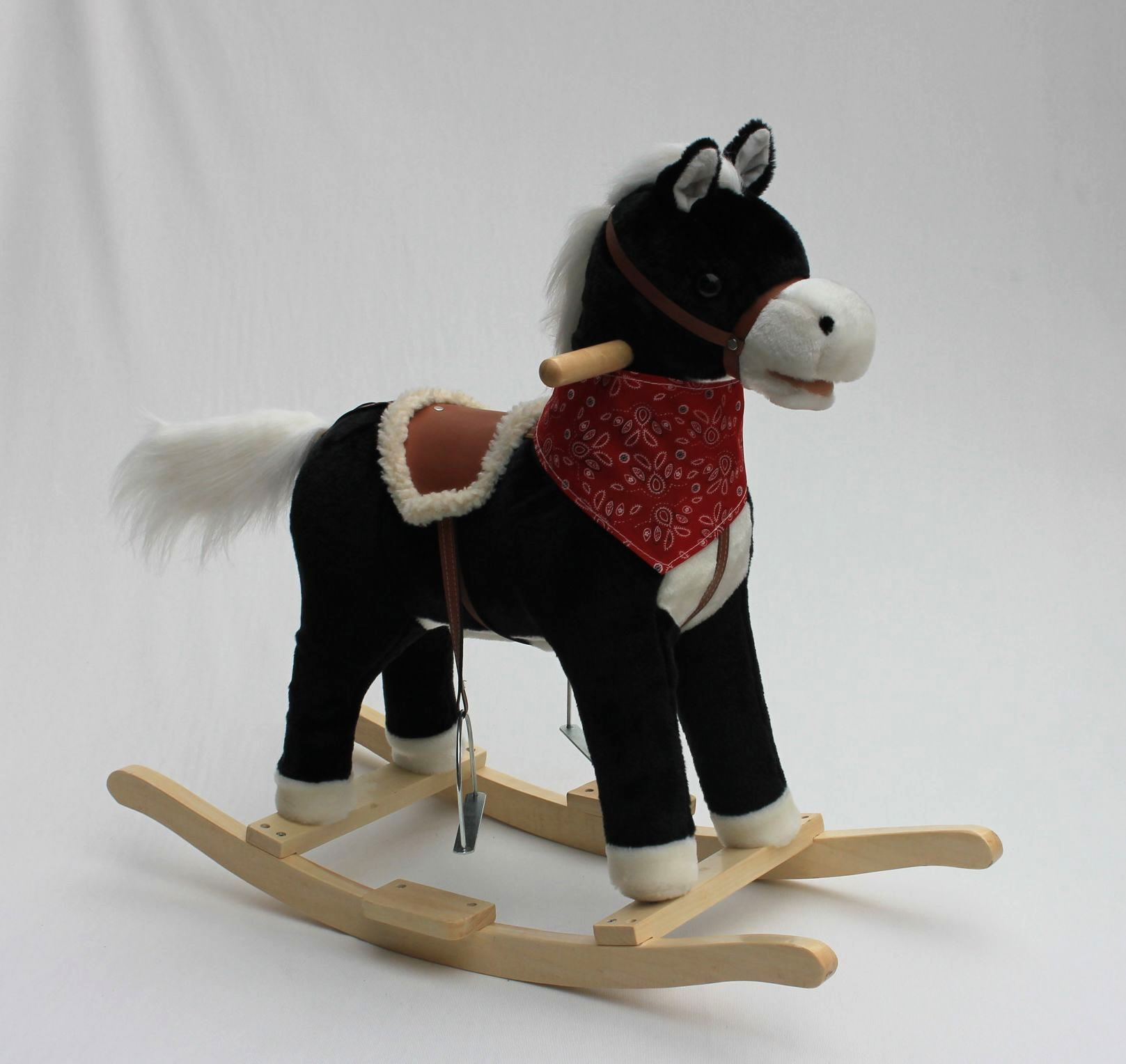 78x28x68cm promotional customized children black plush rocking pony toy with red triangle scarf&wooden base