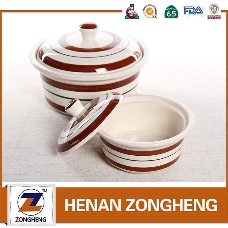 3pcs ceramic stoneware handpainted pots with lid