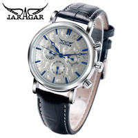2016 JARAGAR Luxury Men's 6 Hands Auto Mechanical Watches PU Leather Wristwatch