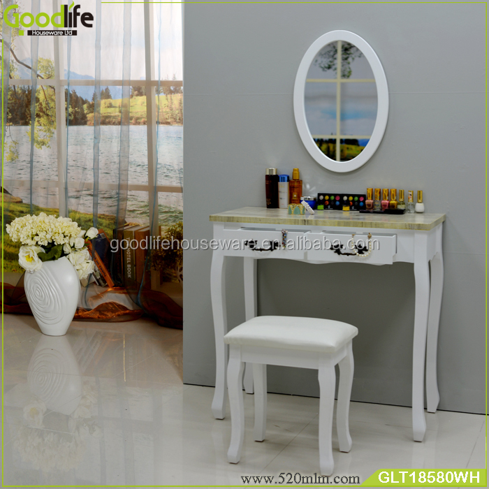Hallway vanity table in solid wood stand with oval mirror made in china