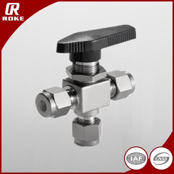 stainless steel 304 316 compression 3 way ball valve