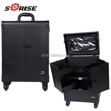 Pro actor Multifunction makeup Trolley Train Case box with tray