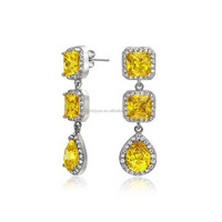 Princess Cut and Drop Stone Yellow Citrine Chandelier Earring