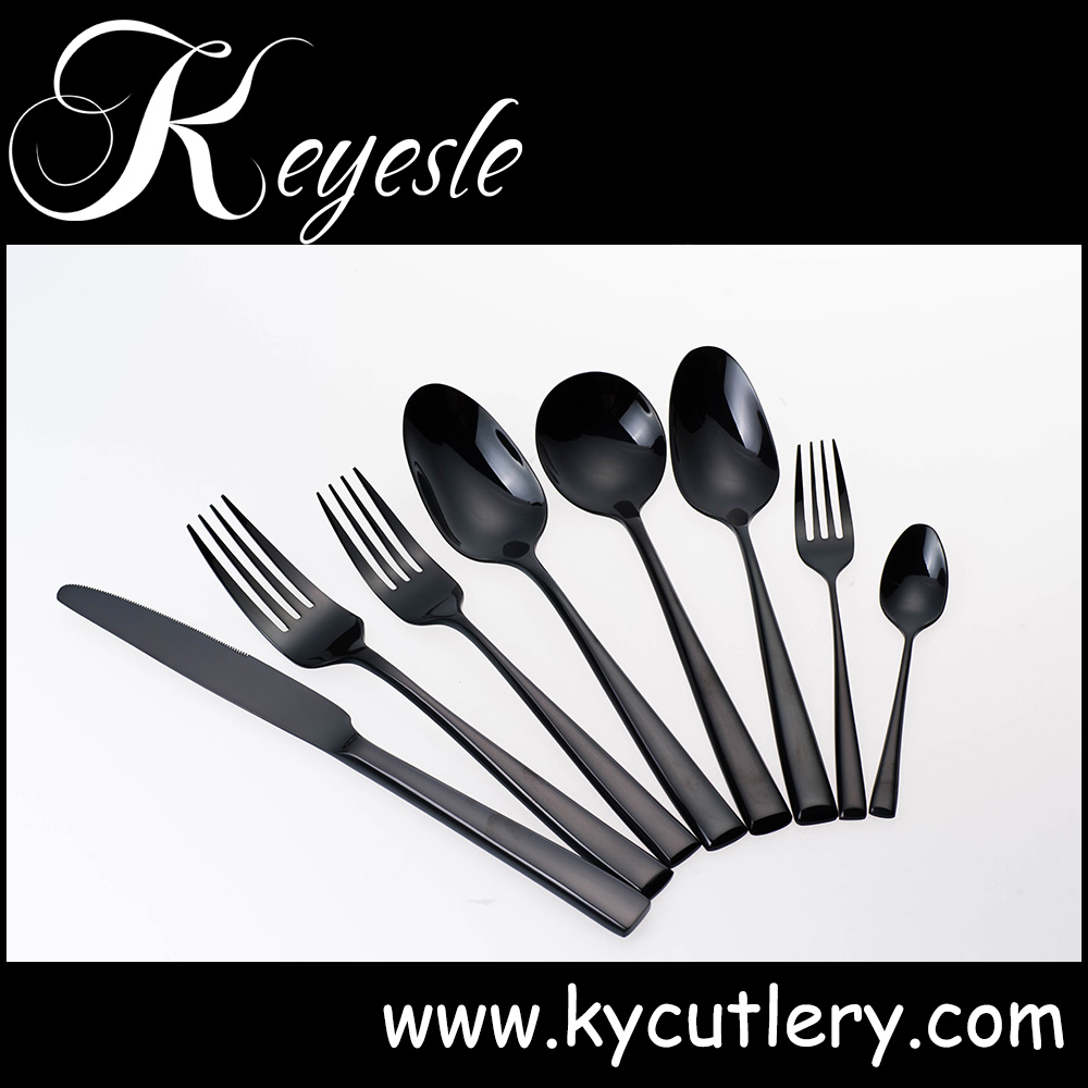 black gold cutlery,cutlery black stainless,black metal cutlery