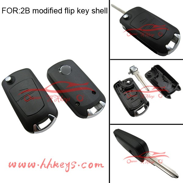 China Manufactured modified flip remote key fob for Opel 2 button key car