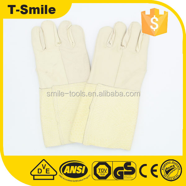 High impact resistant deerskin leather oyster white long gloves for working