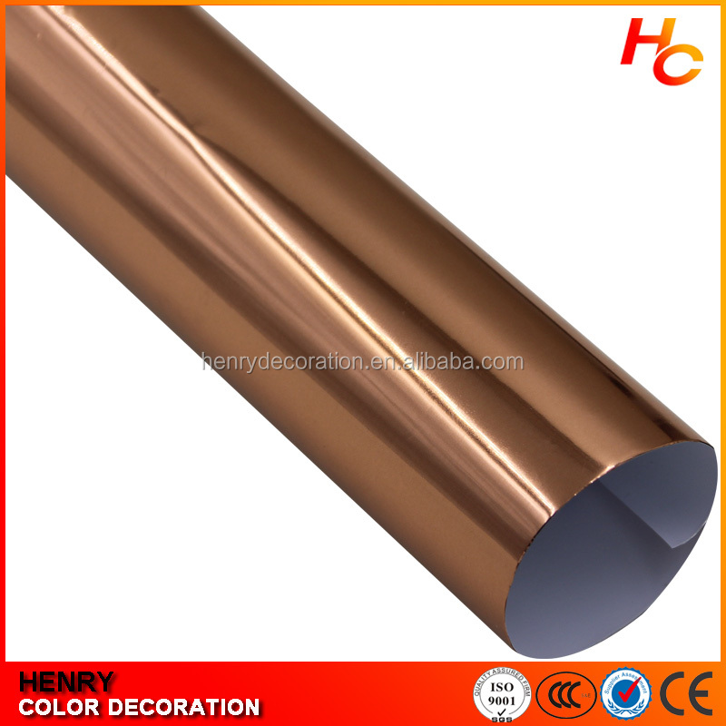 Hot-Selling! Chrome Vinyl Wrap Rose Gold Whole Mirror Car Body With Air Bubble 1.52X30M