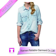 Ladies denim blouse with pockets high quality alibaba china