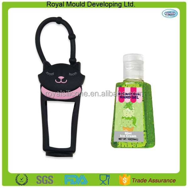 New multi style cat shaped outdoor travel portable hanging silicone holder hand sanitizer bottle holder