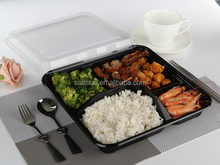 thickness square shape black 5 compartment plastic bento lunch box