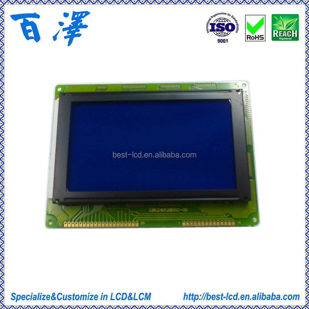 240x128 Dots STN Blue Negative COB graphic LCD module With White LED Backlight