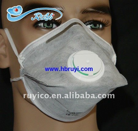 N95 FFP2 flat foldable face mask respirator with dust filter