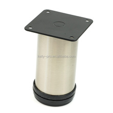 Sofa Leg, Metal Chrome Replacement Furniture Chair Feet Round Tube with Square Mounting Plate