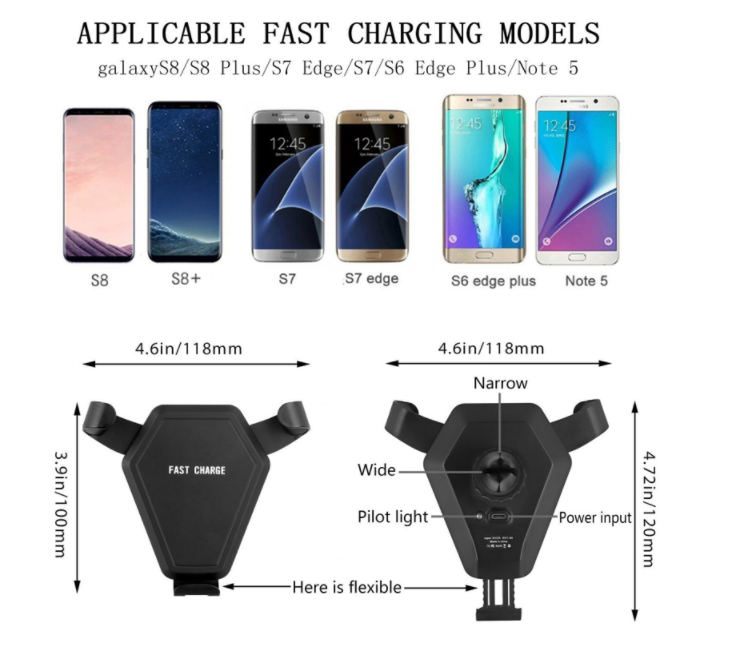 Fast charger wireless stand mobile phone wireless car charger