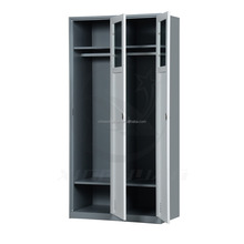 Cheap Chinese furniture bedroom two door locker metal wardrobe with mirror