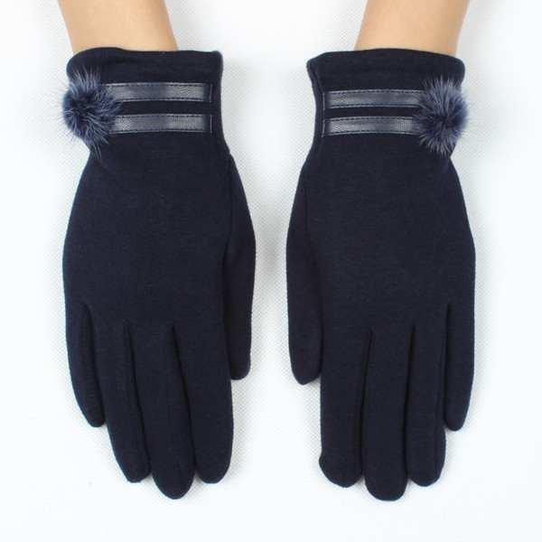 Popule plain stylish blue wool rabbit fur ball gloves soft warm winter gloves