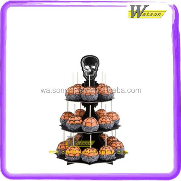 supermarket promotion cardboard 3 tier cupcake stand for kids birthday party