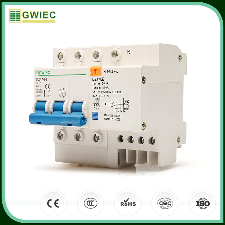 GWIEC Promotional Item C45LE Rcbo AC Residual Current Operated 3 Phase 400V Residual Current Device