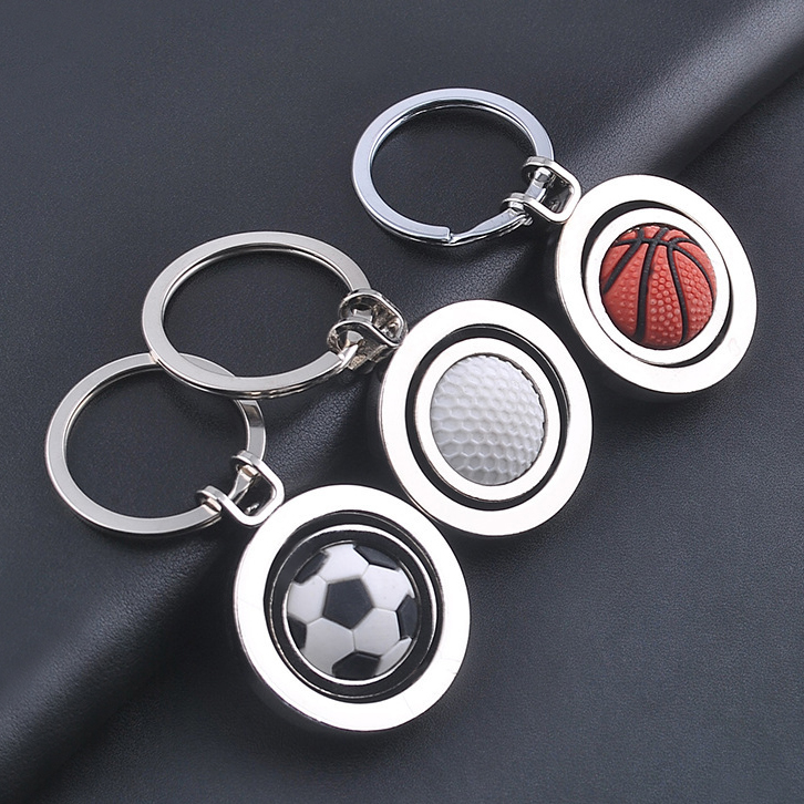 Sports Gym soccer team club league keychain, custom logo metal souvenirs football basketball tennis ball key chain ring keyring