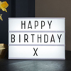 A4 free standing led light box with 72 coloured letters and symbols double sided