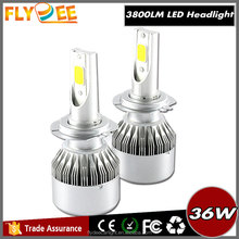 c6 h7 9012 car led headlight 36w 3800lm quickly heat dissipation fan model hot-sale lamps all in one design suitable for any car