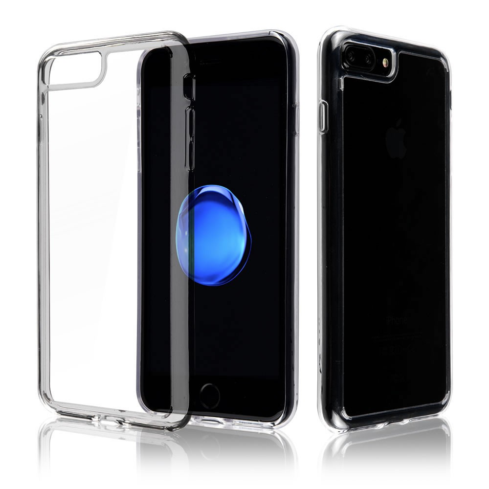 C&T Crystal Clear TPU Soft Bumper and Hard Back Cover for iPhone 7 Plus