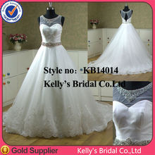 2015 see through lace hemline appliqued civil white wedding saree