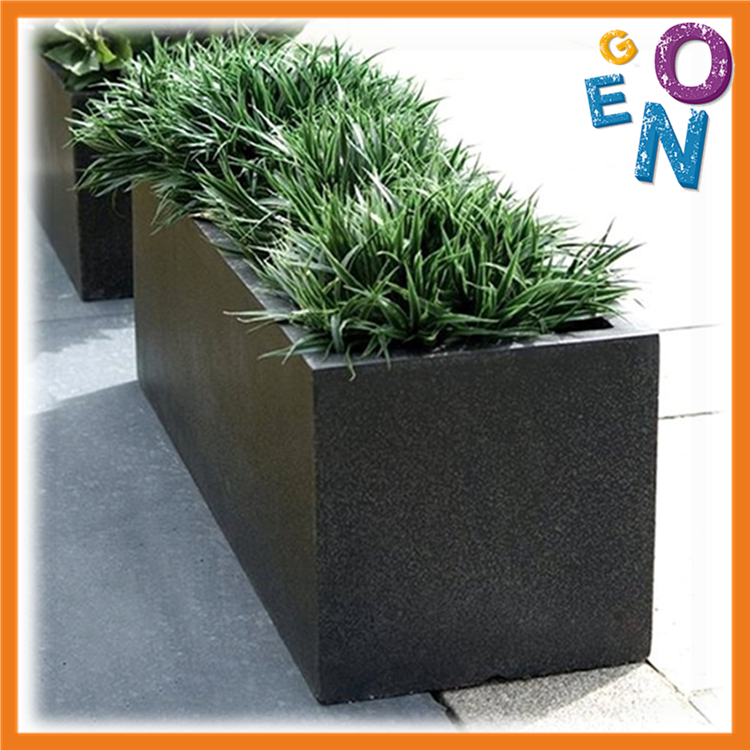 Outdoor rectangular fiber clay flower pot,square fiberglass plant pot for Garden decoration