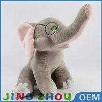 China toy factory stuffed plush grey elephant with glass toys dolls
