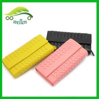 Fashion weave sheepskin wallet genuine leather ladies purse hot sale