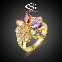 Unique Factory wholesale Fashion Ring Jewelry 8-10# Ring 18K Gold Plated CZ Flower design for Girl