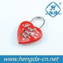 Zinc alloy heart love lock with combination nice for wedding or lovers